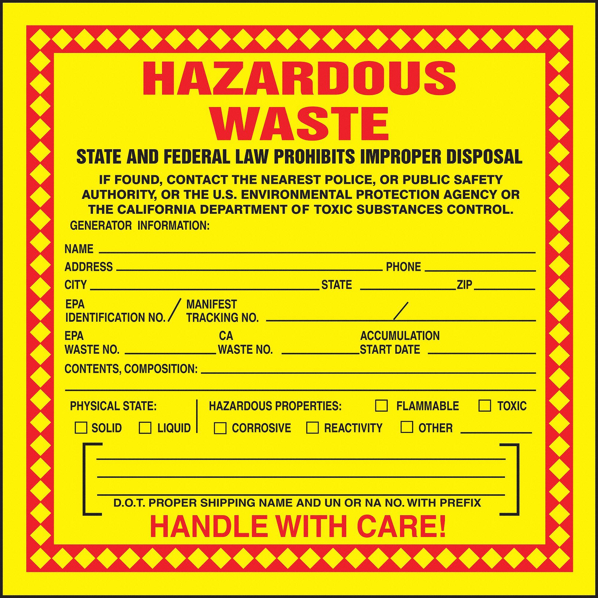 Accuform Vinyl California Hazardous Waste Label 6 Quot Height