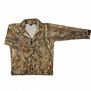 "Men's Camouflage Polyurethane Rain Jacket with Hood, Size L, Fits Chest Size 42"" to 44"""