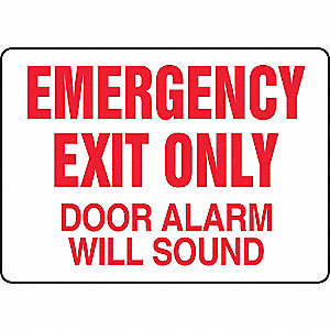 Fire Exit with Alarm Sign,7 x 10In,R/WHT