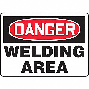 Danger Sign,10 x 14In,R and BK/WHT,PLSTC