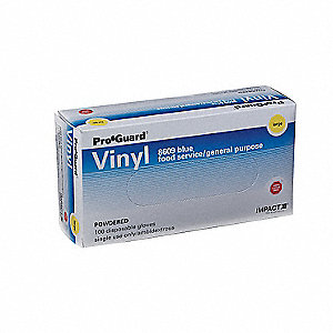 "Blues Disposable Gloves, Vinyl, Powdered, M, 5 mil Palm Thickness, 9-1/2"" Length"