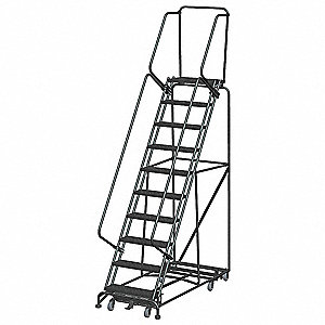 "Lockstep Rolling Ladder, 133"" Overall Height, 450 lb. Load Capacity, Number of Steps 10"