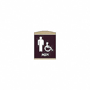 Restroom Sign,9-3/8 x 7In,WHT/Dark BR