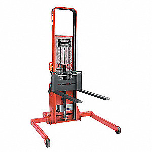 "Hydraulic Stacker, 2000 lb., Fork Width 3"", Fork Length 42"", Lifting Height Max. 64"""