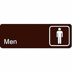 Restroom Sign,3 x 9In,WHT/BR,ACRYL,Men