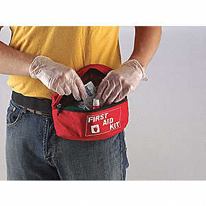 First Aid Fanny Pack,Bulk,Red,42Pcs,1Ppl