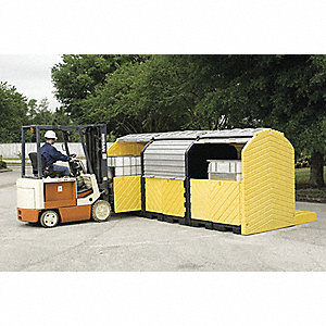 Covered Triple IBC Containment Unit, 9000 lb. Load Capacity, 420 gal. Spill Capacity