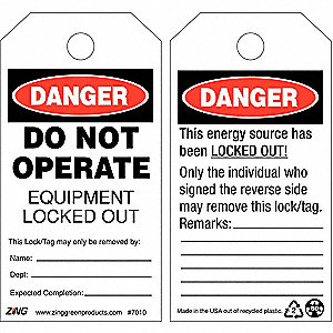 "Plastic, Do Not Operate Equipment Locked Out Danger Tag, 5-3/4"" Height, 3"" Width"