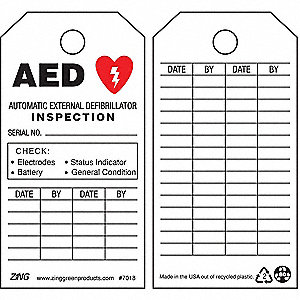 "Recycled Plastic AED Inspection AED Tag, 5-3/4"" Height, 3"" Width"