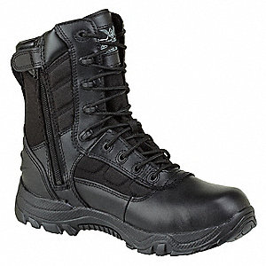 "8""H Men's Work Boots, Plain Toe Type, Leather and Nylon Upper Material, Black, Size 8-1/2"