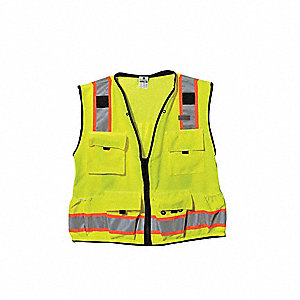 Lime High Visibility Vest, Size: 4XL, 2 ANSI Class, Zipper Closure Type