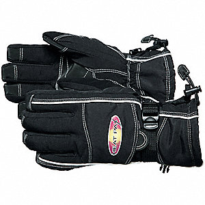 Cold Protection Gloves, Unlined Lining, Shirred Cuff, Black, S/M, PR 1