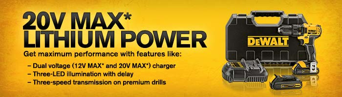 DeWALT 20VMax Lithium Ion Products