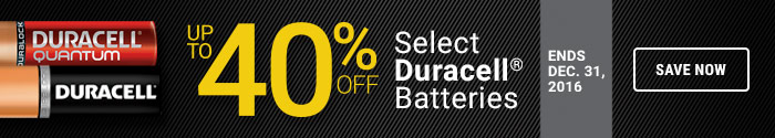 up to 40% off select Duracell batteries