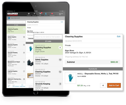 Grainger iPad App Personal Lists