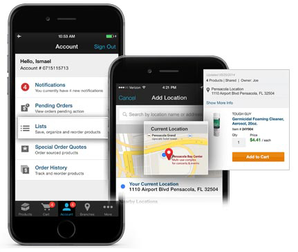 Grainger Mobile Location-Based Lists