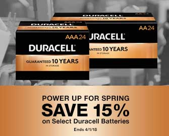 Power Up for Spring - SAVE 15% on Select Duracell Batteries.