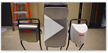 Watch Video -  Hand Dryers vs. Paper Towels