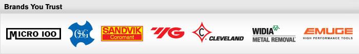 End mill brands: Micro 100, OSG, Sandvik Coromant, YG-1, Cleveland, Widia Metal Removal, Guhring