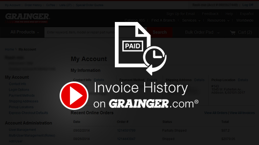 Reliefworkersus  Nice Invoice History  Grainger Industrial Supply With Outstanding Invoice History With Comely Cash Payment Receipt Form Also Pound Cake Receipt In Addition How To Certified Mail Return Receipt And Receipt For Pizza Dough As Well As Charitable Donation Receipt Requirements Additionally Make Receipts Free From Graingercom With Reliefworkersus  Outstanding Invoice History  Grainger Industrial Supply With Comely Invoice History And Nice Cash Payment Receipt Form Also Pound Cake Receipt In Addition How To Certified Mail Return Receipt From Graingercom