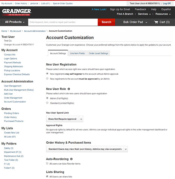 Customize Your Grainger.com Settings