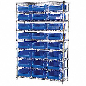 "48"" x 18"" x 74"" Bin Shelving with 2000 lb. Load Capacity, Blue"