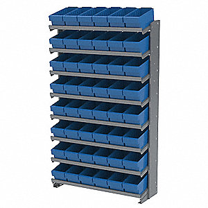 "36-3/4"" x 12"" x 60-1/4"" Single Sided Pick Rack with 400 lb. Load Capacity, Gray Rack/Blue Bins"