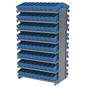 "Steel Pick Rack with 144 Bins, 36-3/4""W x 24""D x 60-1/4""H, Load Capacity: 800 lb., Gray"