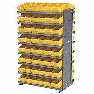 "Steel Pick Rack with 96 Bins, 36-3/4""W x 24""D x 60-1/4""H, Load Capacity: 800 lb., Gray"