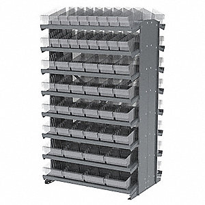 "Steel Pick Rack with 100 Bins, 36-3/4""W x 24""D x 60-1/4""H, Load Capacity: 800 lb., Gray"