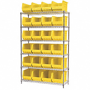 "48"" x 18"" x 74"" Bin Shelving with 2000 lb. Load Capacity, Yellow"
