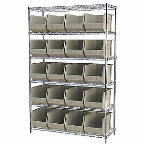 "48"" x 18"" x 74"" Bin Shelving with 2000 lb. Load Capacity, Stone"