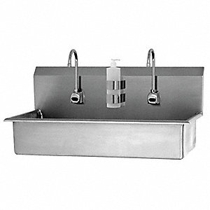 "Wall Hands Free Wash Stations, 37"" x 16-1/2"" x 8"" Bowl Size"