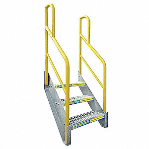 3-Step Aluminum Stair Unit, Serrated Step Tread, 1000 lb. Load Capacity