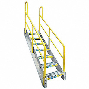 7-Step Aluminum Stair Unit, Serrated Step Tread, 1000 lb. Load Capacity