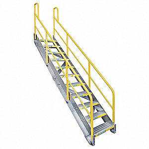11-Step Aluminum Stair Unit, Serrated Step Tread, 1000 lb. Load Capacity