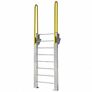 "Fixed Ladder, Aluminum, 9 ft. 7"" Overall Height, 26"" Overall Width, 1000 lb. Load Capacity"