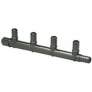 "7-9/16"" x 59/64"" x 1-3/16"" CR Polymer PEX Manifold, 1 Number of Inlets, 5 Number of Outlets"