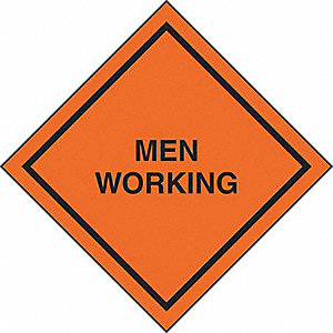 SIGNS ROLL UP  MEN WORKING