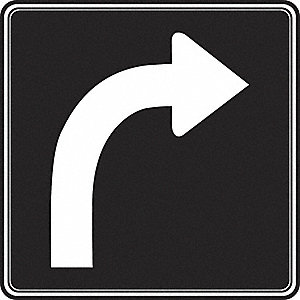 SIGN RFL 24INX24IN LAN TRN RIGHT