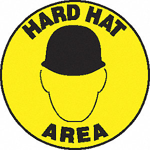 SIGN FLOOR HARD HAT AREA 17IN