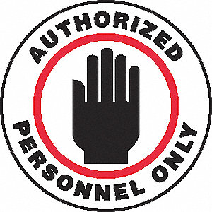 SIGN FLR AUTHORIZED PERSONNEL 17IN