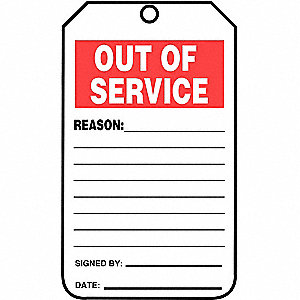 TAG PLSTC OUT OF SERVICE 25/PK