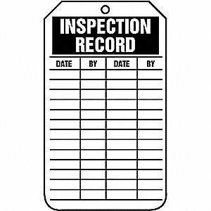 TAG CRDSK INSPECTION RECORD 25/PK