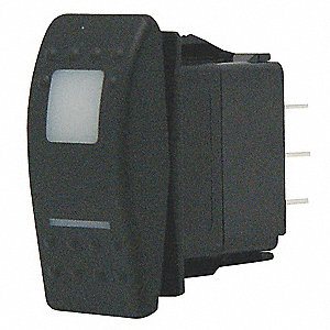 "Lighted Rocker Switch, Contact Form: SPST, Number of Connections: 3, Terminals: 0.250"" Quick Connect"