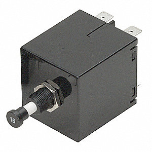 Circuit Breaker, Magnetic Circuit Breaker Type, Push-to-Reset Switch Type, Number of Poles: 1