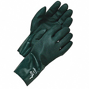 GLOVES ROUGH GRIP GREEN PVC 12IN