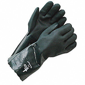 GLOVES ROUGH GRIP GREEN PVC 14IN