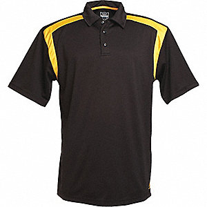 SHIRT GOLF MENS BLACK/YELLOW