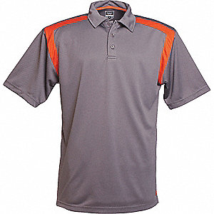 SHIRT GOLF MENS GRAPHITE/ORANGE